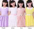 Fashion Kids Girl s Wear Short Sleeve Doll Collar Lace Mini Dress With Belt