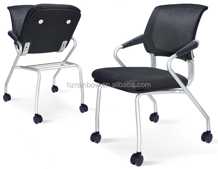 Mesh Vertical Folding Office Training Chair With Wheels