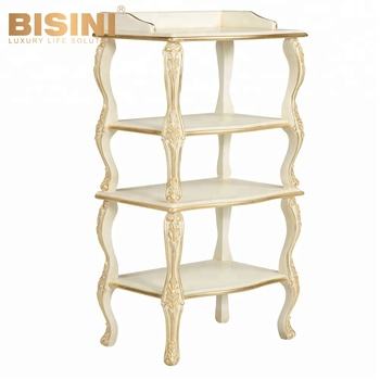 BISINI Royal Kids Wooden Toy Storage Shelf, All Golden Luxury Children  Decorative Wooden Display Shelf