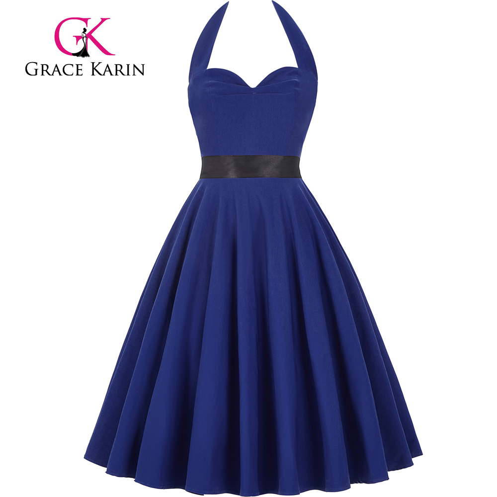 Grace Karin Sweetheart Backless Halter Nylon-Cotton Retro Vintage 50s Blue Picnic Party Dress CL008950-5