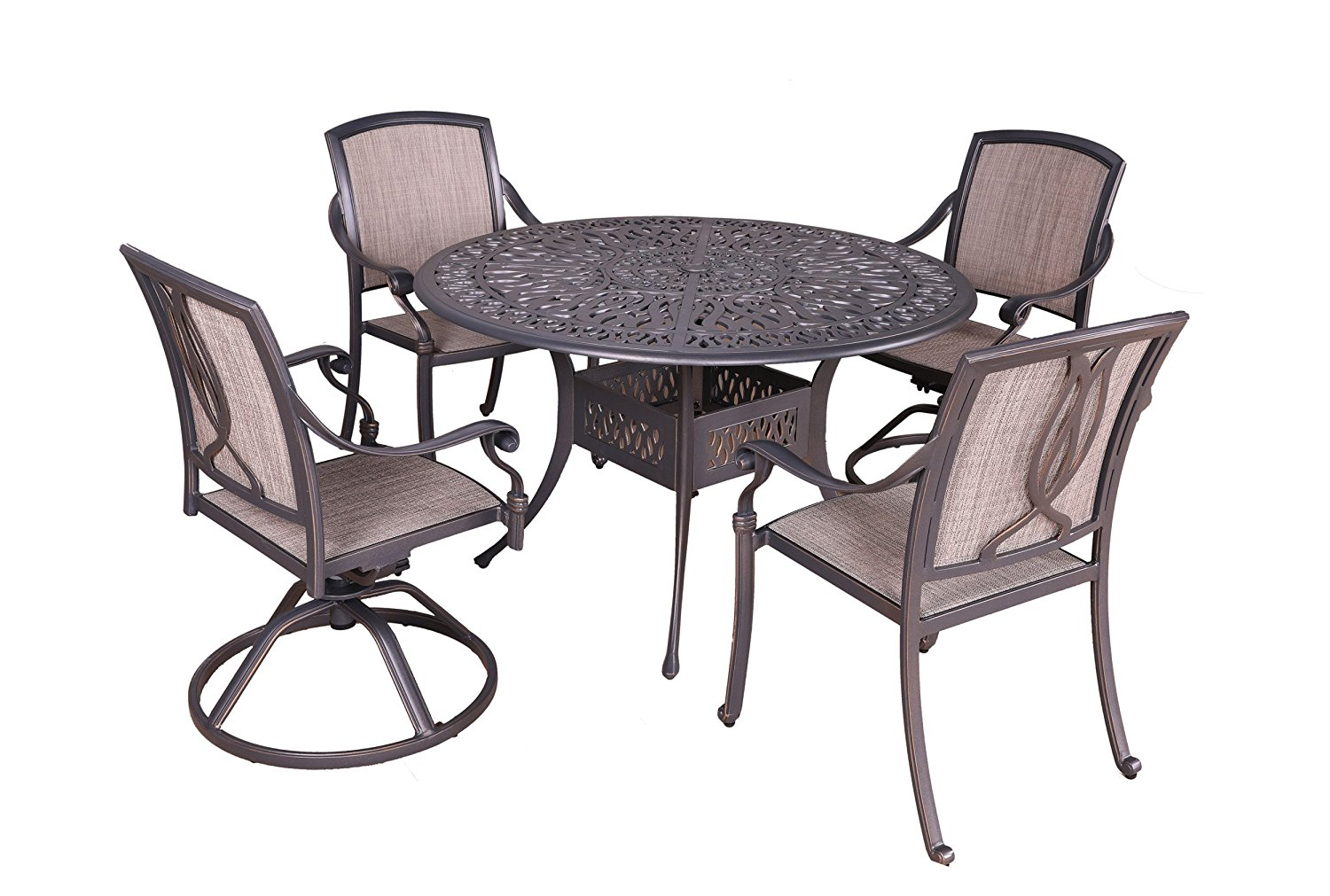 "iPatio Athens 5pc Sling Dining Set, 48"" Round Dining Table"