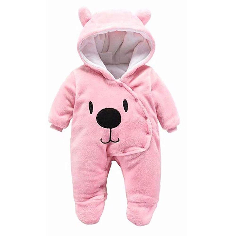 39ffec302 Newborn Baby Romper Cartoon Bear Hooded Thick Windproof Romper Jumpsuit Warm  Footies