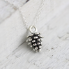 Customized antique silver pinecone necklace for girl