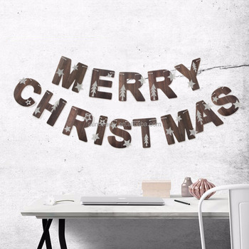 Merry Christmas Writing Images.Retro Style Vintage Natural Merry Christmas Letter Banner With Star Trees Printed Hanging Decorations Buy Merry Christmas Letter Banner Christmas