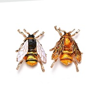 Wholesale Europe Fashion Women Bee Brooch Yellow Green Bumble Bee Brooches Jewelry