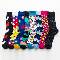 Wholesale Fashion Cotton Crew Men Dress Teen Tube Socks Men Custom Colorful Happy Socks