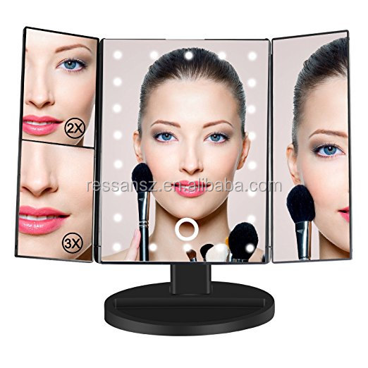 Illuminating Barber Mirror Cosmetic USB Charging Trifold LED Makeup Mirror with Touch Screen Led Makeup Battery Powered