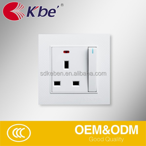 KBE BS standard multi function 13amp electric switch socket with neon