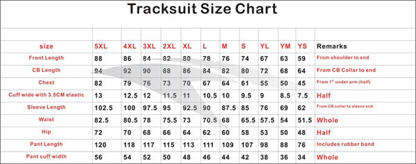 Mens Size Chart Shirt