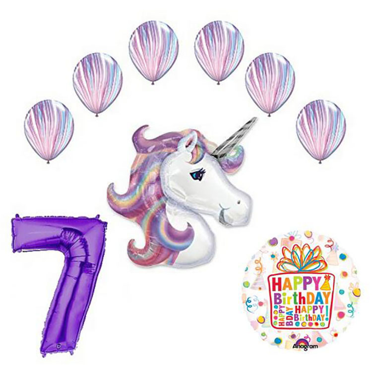 Unicorn and Fashion Agate Latex Rainbow 7th Birthday Party Balloon decorations