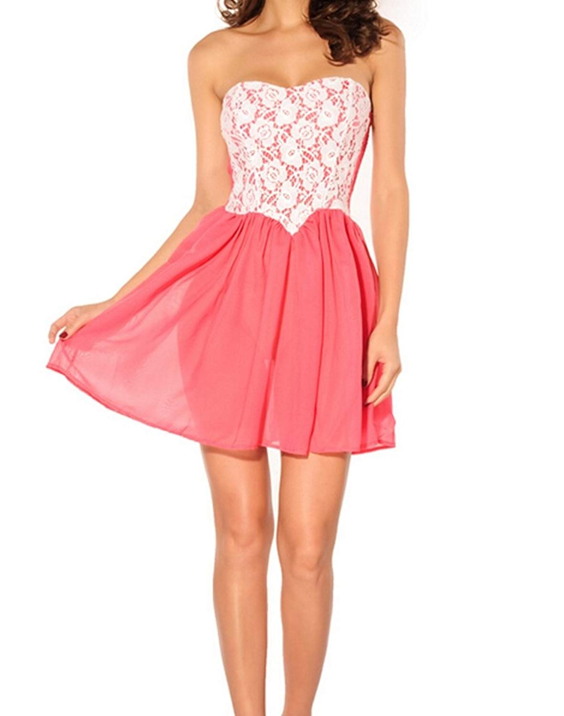 c6458245857 Get Quotations · Alvak Lace Boob Tube Top Rivet Cute Dress Women s  Skirt(CLZ03)-Free Size