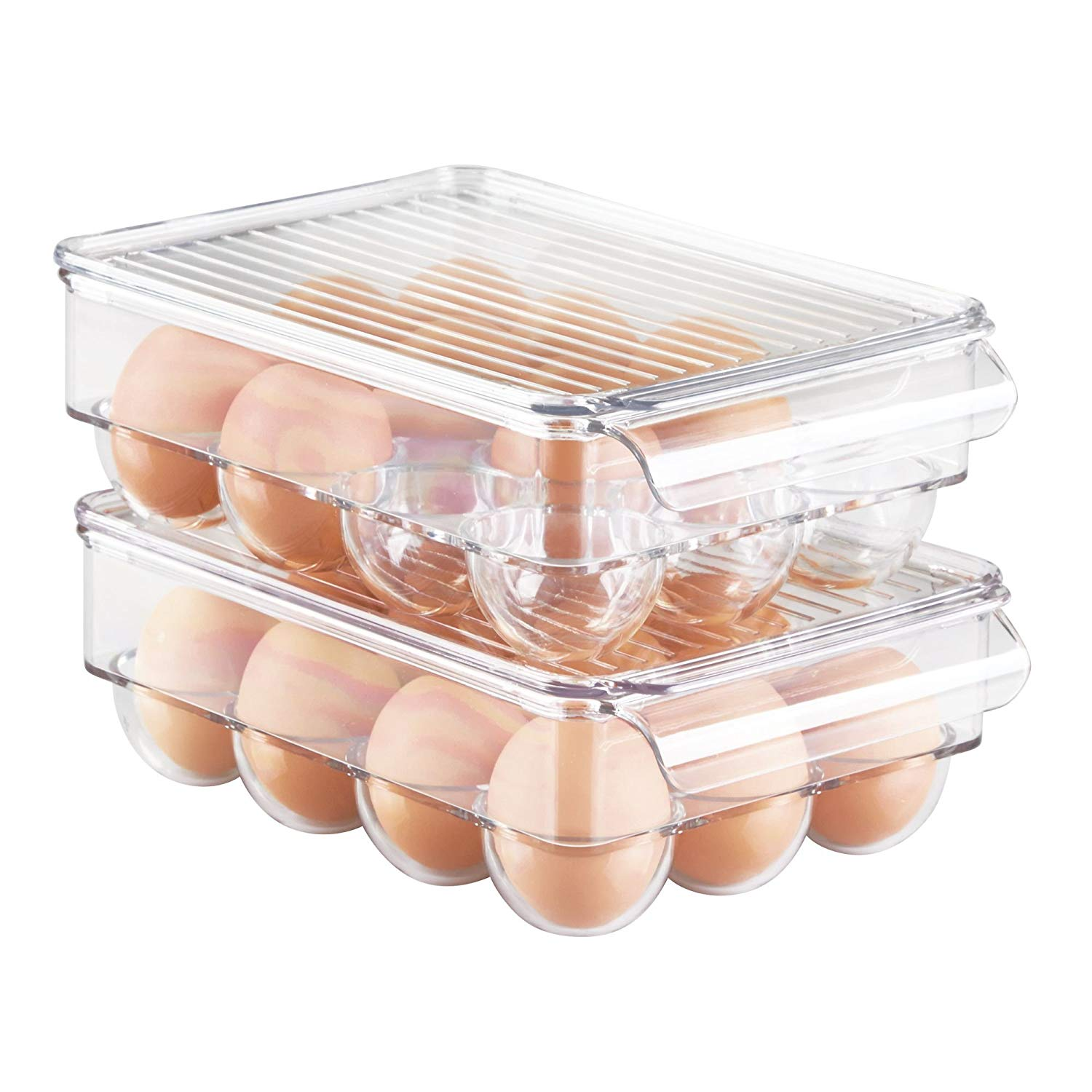 mDesign Stackable Plastic Covered Egg Tray Holder, Storage Container and Organizer for Refrigerator, Carrier Bin with Lid and Handle - Holds 12 Eggs - Pack of 2, Clear