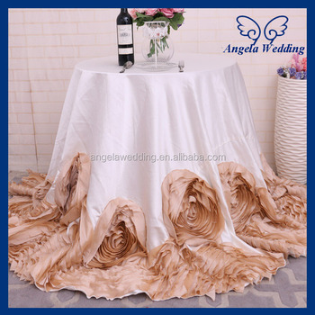 CL052G New Fancy Elegant Round Flower Fancy Wedding Champagne And Ivory  Tablecloths With Rose