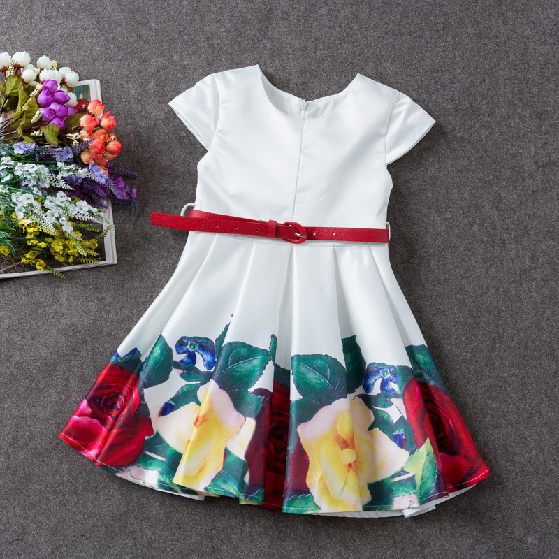 Upscale Short sleeves Beautiful flowers printing children frock designs dress