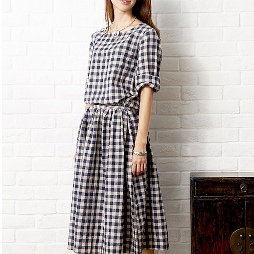 Spring Direct Selling Time-limited Freeshipping Empire A-line And Autumn One-piece Dress Inman 2014 Plus Size Plaid Long-sleeve
