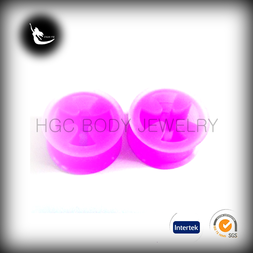 iron cross silicone plug tunnel, spiral body piercing silicone tunnel, peace sign glow in the dark silicone tunnel ear plug