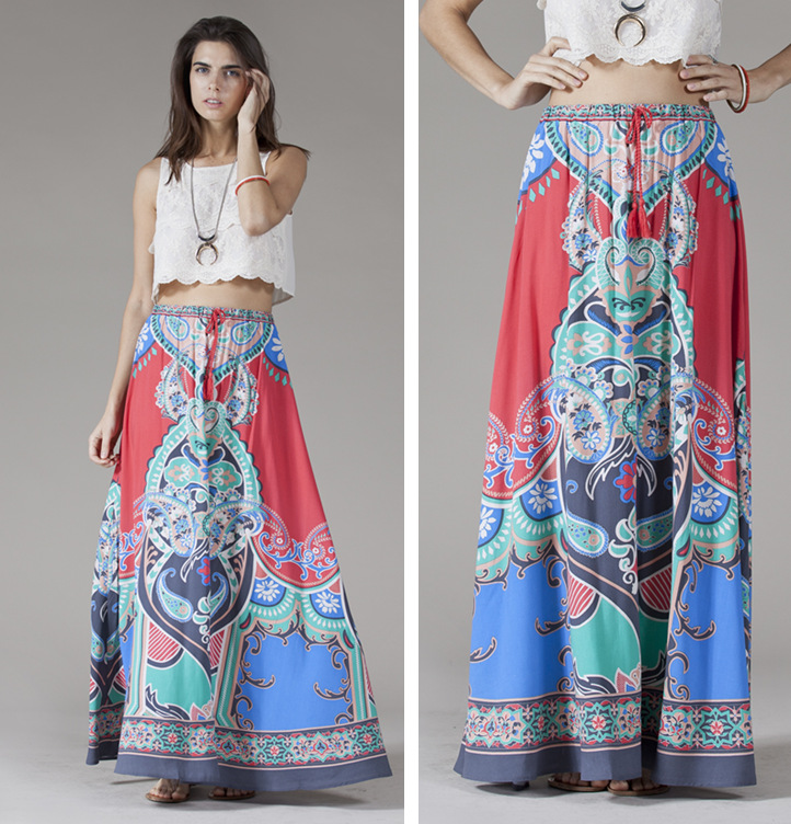 C87973A European women ethnic printing cotton skirts wholesale lady long skirt