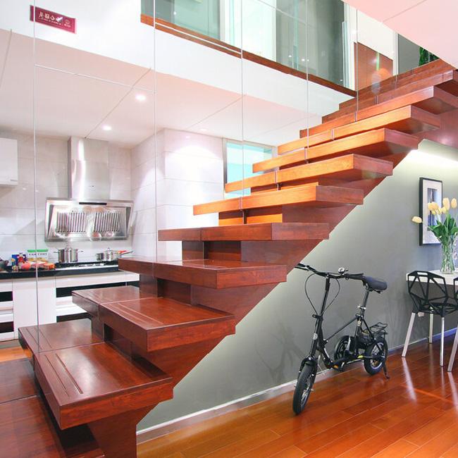 Cheaper Floating U Shape Timber Treads Glass Railings ...