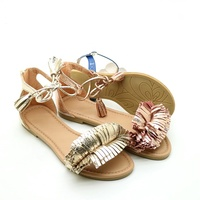 Glitter cross metallic fringe baby beautiful girls sandals