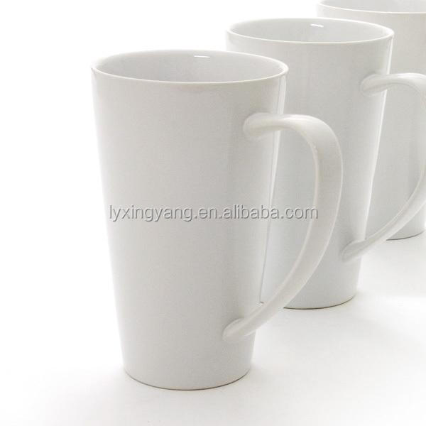 Promotion Advertising Tall White Color Coffee Ceramic V Mug Cup With Silicone Lid Rate