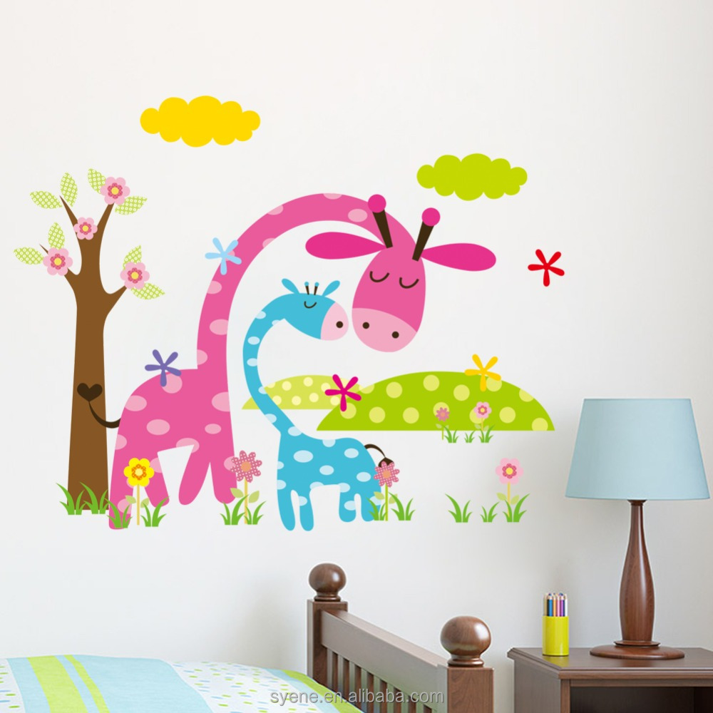 Cartoon dieren muur sticker papier voor baby jongen kamer jungle ...