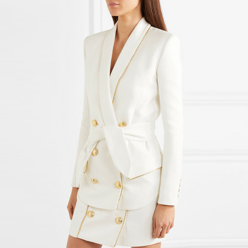 ae58d69f11da lady double breasted collar v neck white satin belted stylish women casual  robe formal blazer dress suit mini skirt trench coat