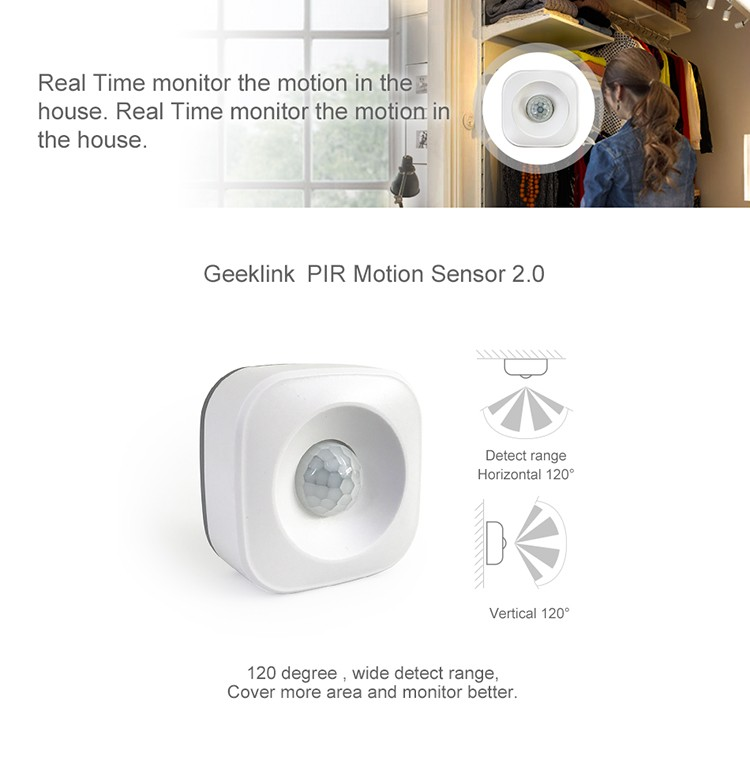 Geeklink 433mhz intelligent home security wireless zigbee pir motion sensor detector alarm