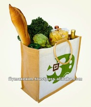 Handled Style and Wooden cane Handle Jute shopping bag