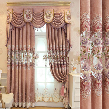 European Luxury Window Embroidered Curtains, Pink Luxury Curtain With Valance Designs/