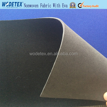 Nonwoven nylon cambrelle fabric laminated with Black eva for shoe lining