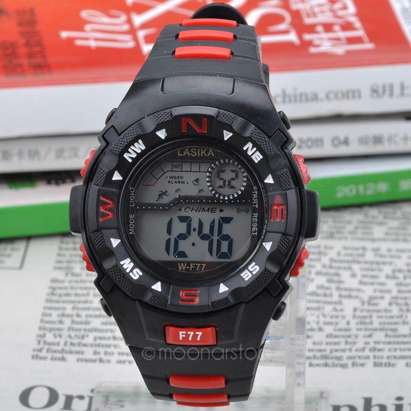 Прохладный мода мужчины спортивные часы студент аварийная сигнализация водонепроницаемый жк-цифровой наручные часы армии авиатор наручные ZX * MHM352 # C2