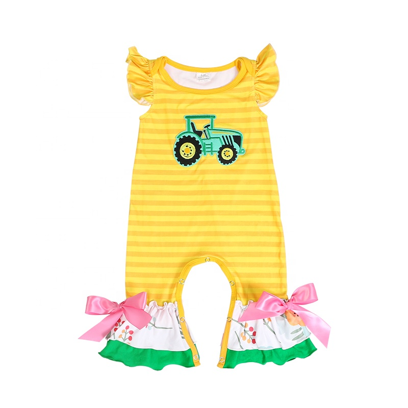 wholesales girls toddlers infant baby clothing cartoon applique clothes girls flutter sleeve romper