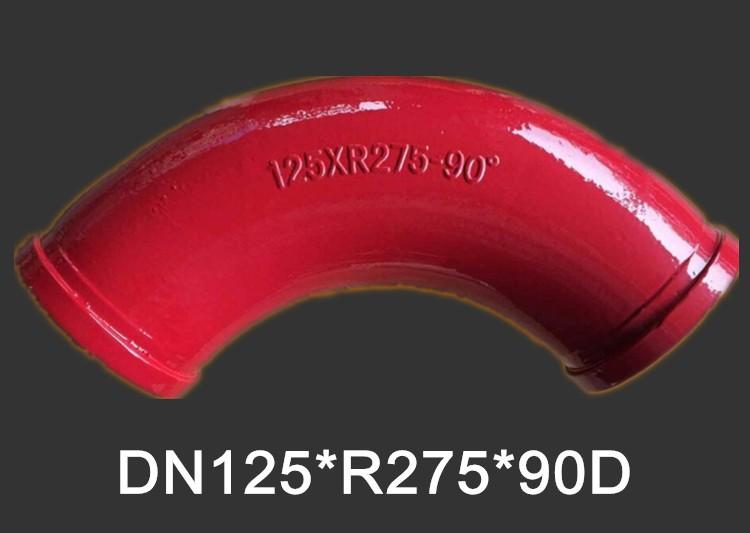concrete delivery pipe elbow  DN125xR275x90D concrete pump bend pipe