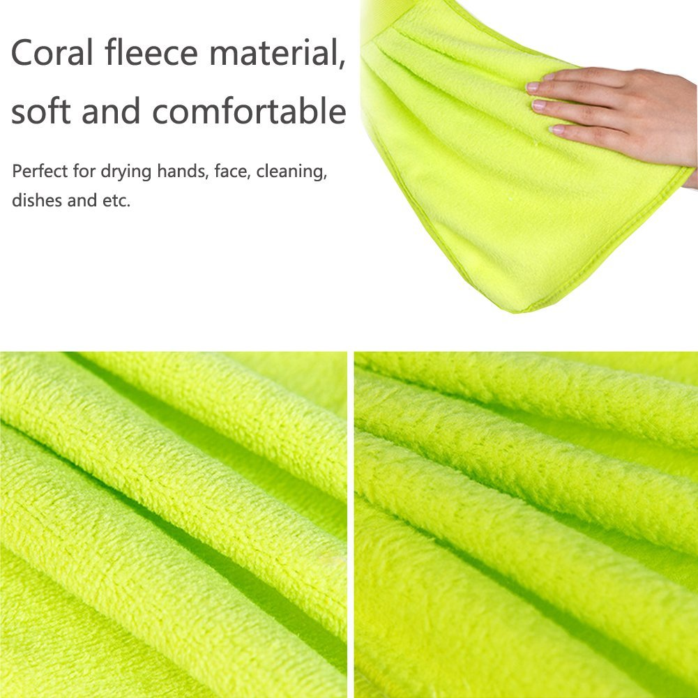 Coral Fleece Microfiber Quick Dry Hanging Towel, Dish Cloth, Wipes Rags for Kitchen & Bathroom