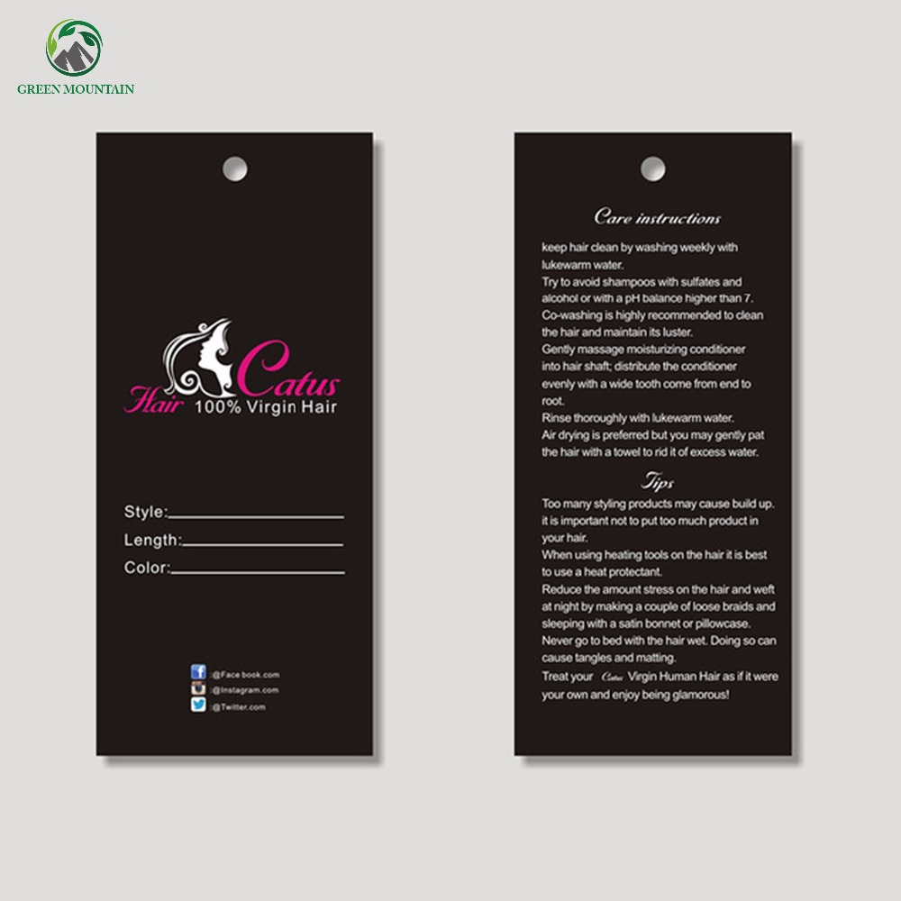 Wholesale custom paper hair extension packaging price hang tag, swing labels tags with Hair care description