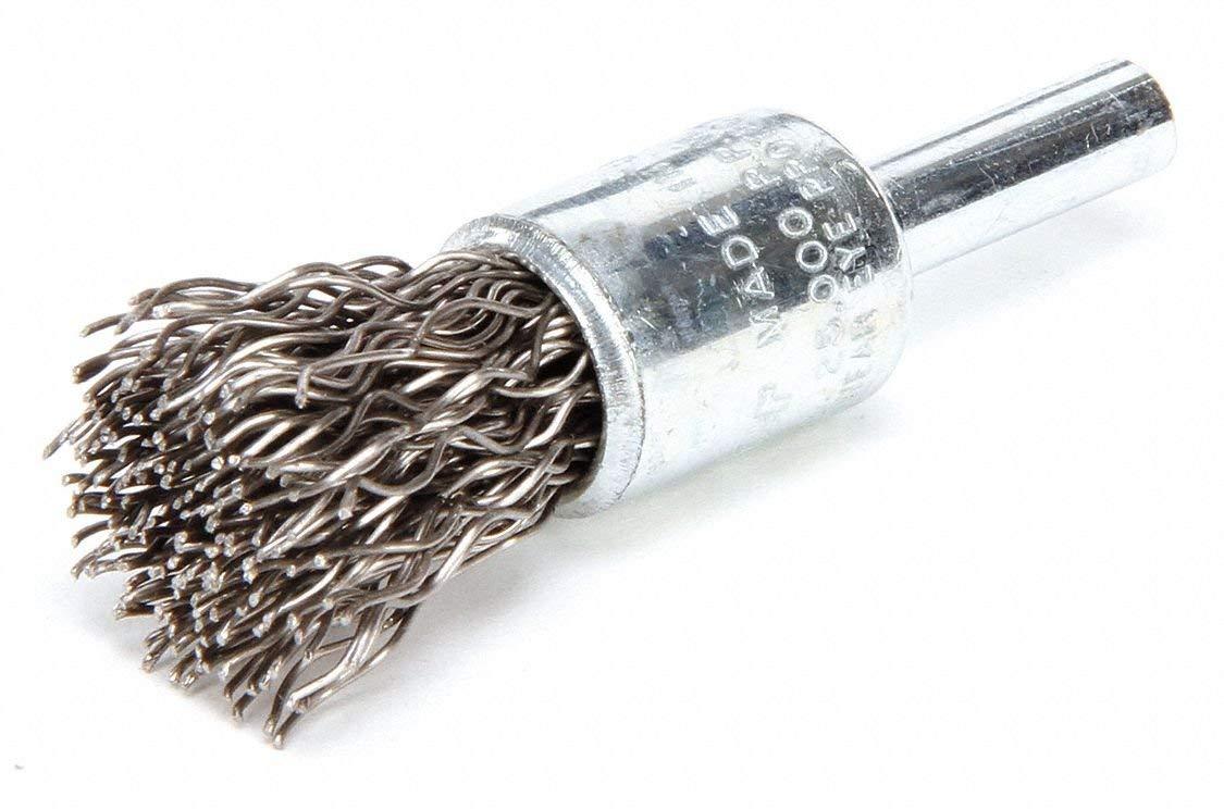 "1/2"" Crimped Wire End Brush, 1/4"" Shank, 0.020"" Wire Dia, 7/8"" Bristle Trim Length"