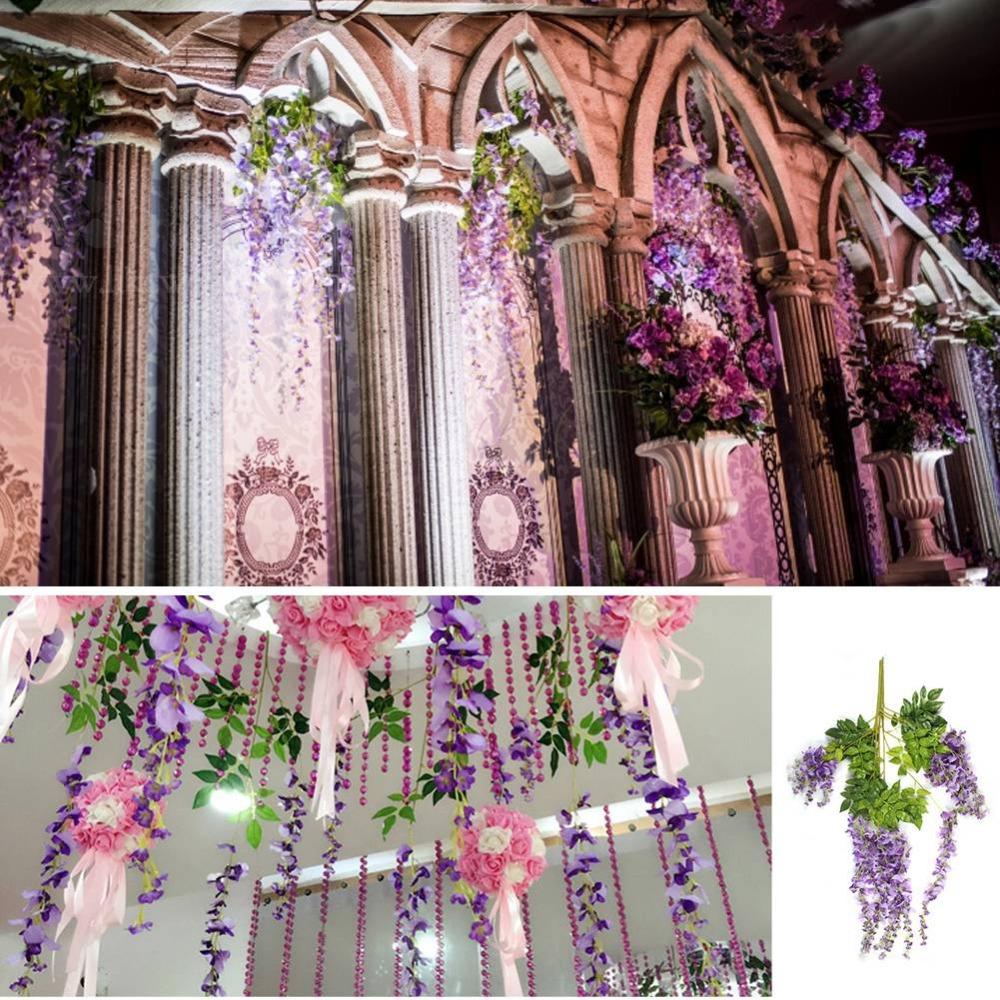 buy 24pcs silk artificial hanging flowers silk wisteria plants fake flower. Black Bedroom Furniture Sets. Home Design Ideas