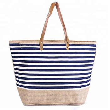 166d1b7f8443 Large Capacity Red Nautical Stripes Zipper Beach Canvas Tote Bag with Jute  combination