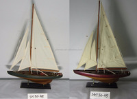 Antique hand scratched wooden Sailing ship model, 2 sets 45x9x67cm racing boat, nautical Red classic yacht replic vessel model