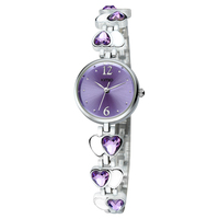 romantic purple watch gift wrist watch crystal bangle chain bracelet watch with heart decoration