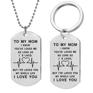 To My Mom I Love You Custom Military Letters Stainless Steel Charms Pendant Necklace&Keychains For Mother Gift