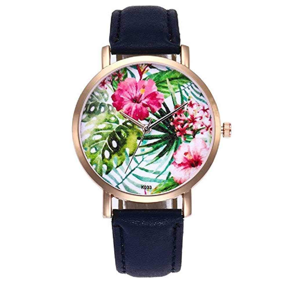 Clearance Sale! Womens Watches,ICHQ Womens Flower Watches Clearance Sale Ladies Beautiful Pattern Leather Band Simple Watch Casual Elegant Analog Wrist Quartz Wristwatch Watches For Women Girls (Blue)