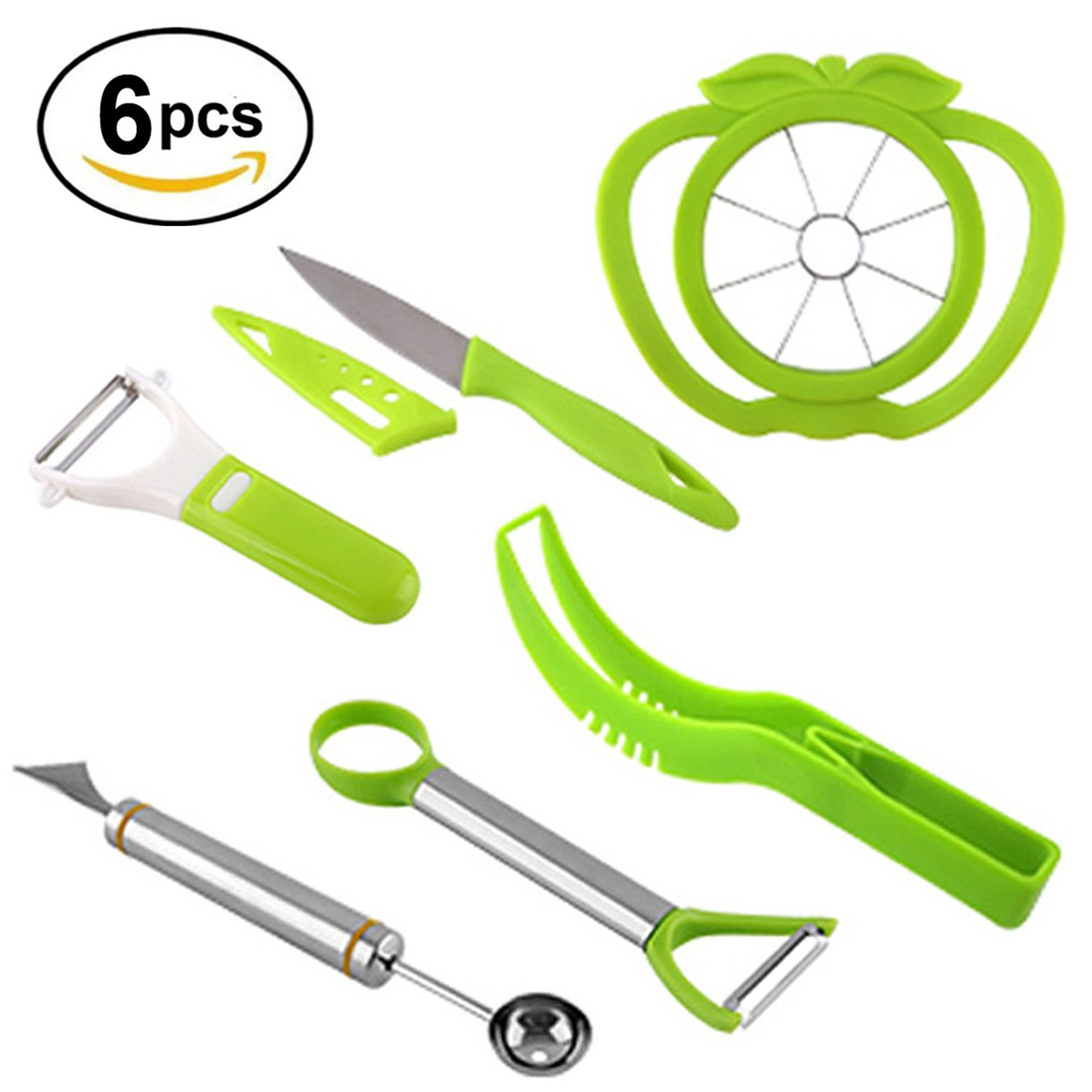 NewFerU Plastic Stainless Steel Kitchen Fruit Carving Tool Set Garnishing Melon Baller Scoop Spoon Knife Shapes Kit With Apple Cutter Corer, Watermelon Slicer Cutter Server and Peeler Pack of 6
