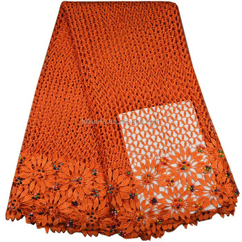 Top Quality Orange French Lace Nigerian Lace Fabrics Embroidered Guipure Lace Fabric For Party FH0629-3