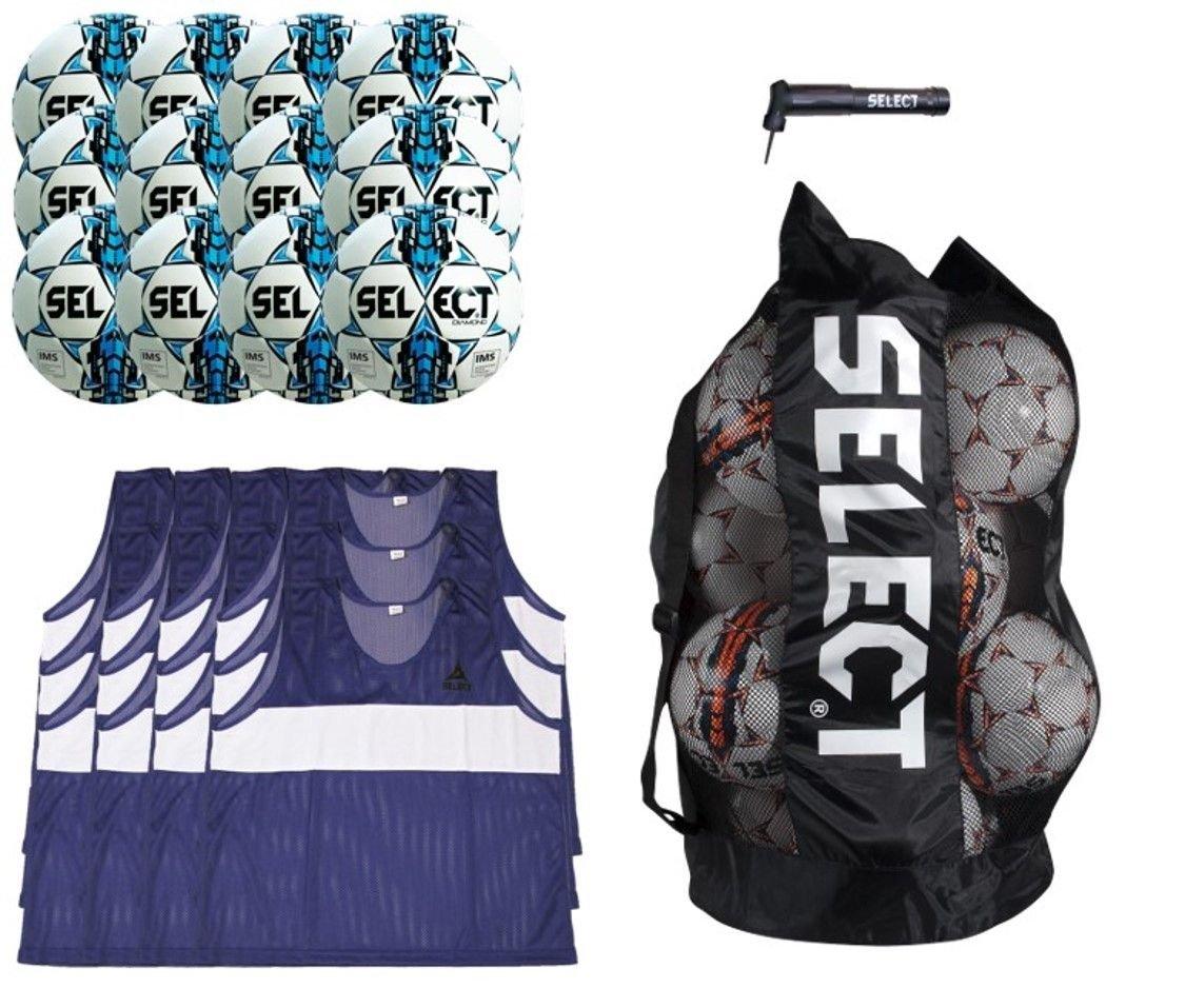 SELECT Diamond Soccer Ball Pack, White/Blue, 4