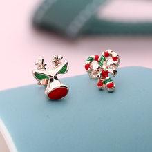 Модные маленькие серьги-гвоздики для женщин и девочек, милые красные рождественские серьги с мультяшным рисунком, детские серьги-гвоздики, ...(Китай)