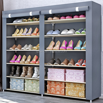 6 Layers 2 Doors Foldable Fabric Shoe Cabinet Wall Mounted Shoe Rack  Wholesale