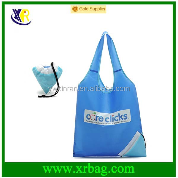 Promotional cheap 190T polyester/ nylon foldable shopping bag