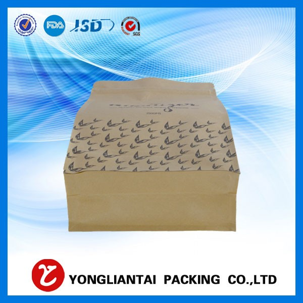 Factory price dried fruit stand up kraft paper/kraft paper square bottom pouch