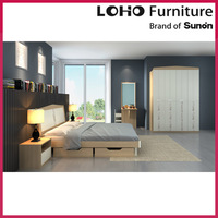Apartment furniture modern wood double bed designs with box